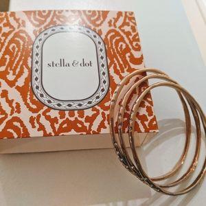 Stella and Dot Rhea rose gold tone bangles